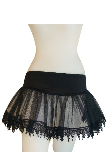 Petticoat Adult Sexy Costume Accessory - Leg Avenue Women's Teardrop Lace Petticoat Dress, Black, One Size