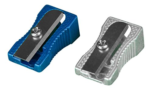 SharpTank Pocket Sharpener Twin Pack + Click Case, Aluminum Handheld Pencil Sharpeners in Metallic Blue and Silver
