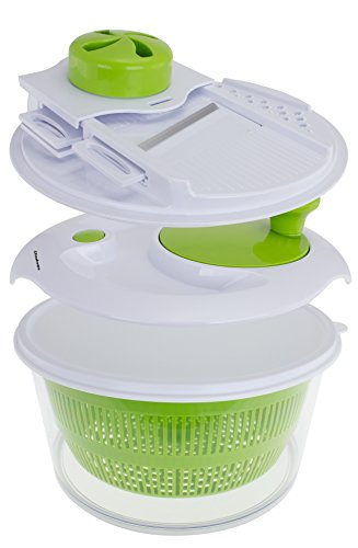 Freshware KT-504 9-in-1 Salad Spinner Set with Mandoline Slicer and Storage Lid
