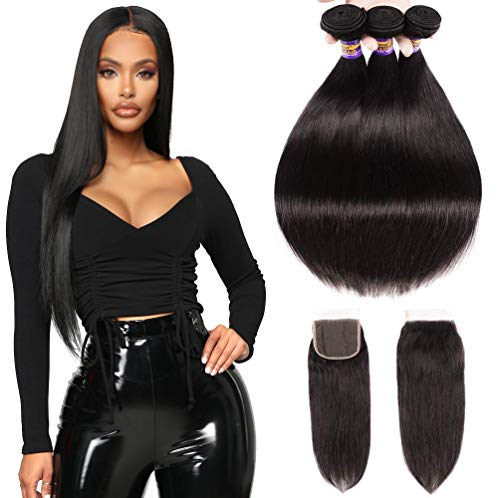 Brazilian Straight Virgin Hair 3 Bundles With Closure Free Part, Grade 8A 100% Unprocessed Remy Human Hair Extensions, Hair Weft Weave With Lace Closure, Natural Color (10 12 14 + 104x4Closure)