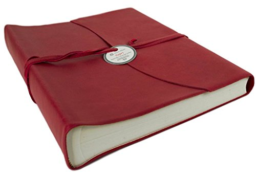 Capri Large Firebrick Handmade Italian Leather Wrap Photo Album, Classic Style Pages (30cm x 24cm x 6cm) by LEATHERKIND