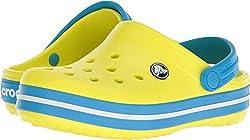 Crocs Kids' Crocband K Clog,tennis Ball Greenocean,9 M Us Toddler