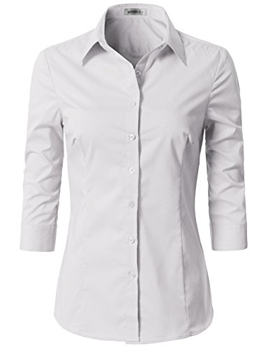 Doublju Womens Slim Fit Business Casual 3/4 Sleeve Button Down Dress Shirt White Large