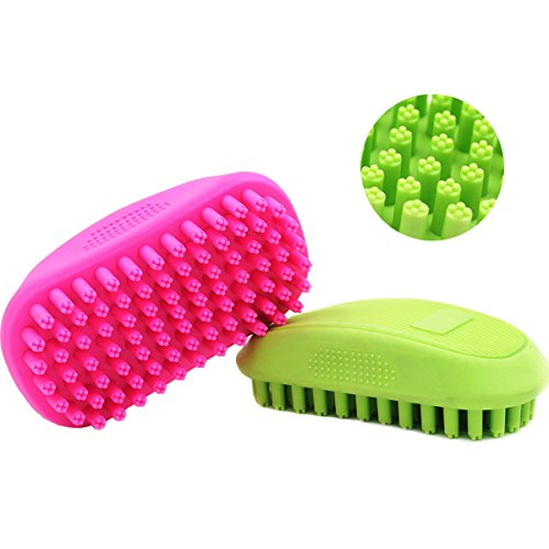 - 7PET Pet Shampoo Brush Soothing Massage Brush - Great Grooming Tool with Soft Rubber Bristles Curry Comb for Dogs & Cats Washing and Massaging