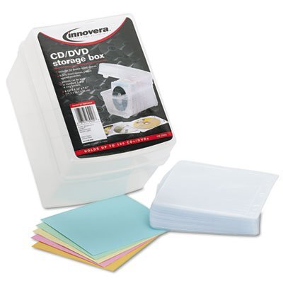 CD/DVD Storage Box, Holds 100 Discs, Sold as 2 Each by Innovera