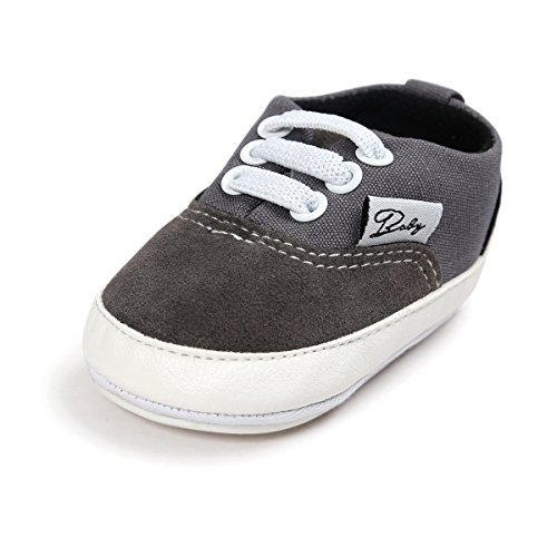 Pictures of Meckior Infant Baby Boys Girls Canvas Toddler Sneaker Anti-Slip First Walkers Candy Shoes (12-18 Months, B-Gray) 3