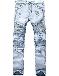 Men's Distressed Destroyed Slim Fit Zipper Biker Jeans Moto Denim Pants