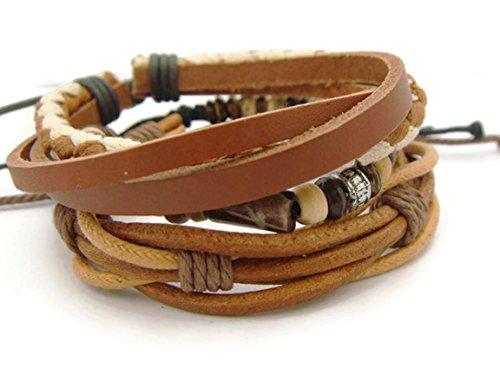 [APECTO Mens Womens Adjustable Bracelet Cuff Leather Multi Cords Surfer Wristband Set 3pcs, Brown] (Diy Half Man Half Woman Costume)