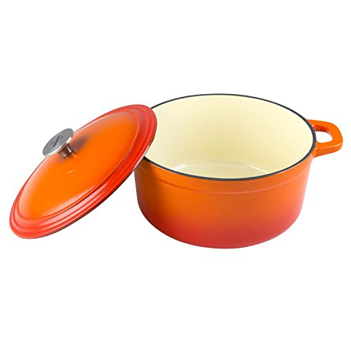 Zelancio Cookware 6 Quart Enameled Cast Iron Dutch Oven Cooking Dish with Self-Basting Lid, Orange