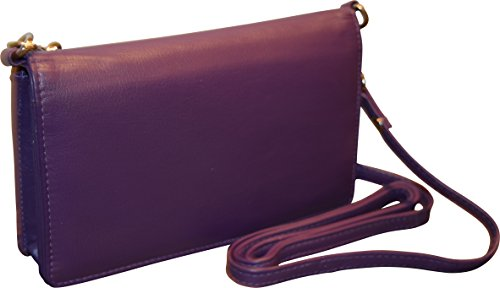 Pielino Women's Genuine Leather Smart Phone Crossbody Wallet With Shoulder Strap -