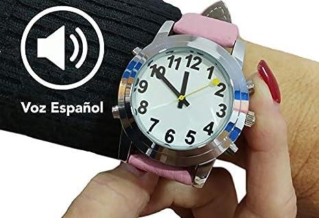 RELOJ PARA CIEGOS CROMAX CORREA PIEL ROSA -PARLANTE ESPAÑOL CIEGOS/BAJA VISION: Amazon.es: Oficina y papelería