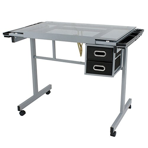 4 Caster Wheels Adjustable Glass Top Drafting Table Drawing Tilts 62.5 Degrees w/ 2 Slide Drawers ()