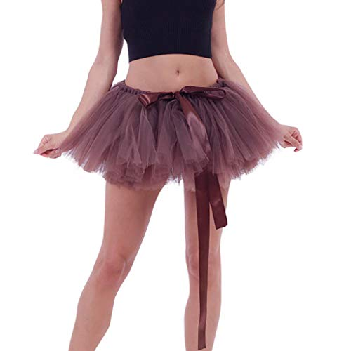 Tomppy Women Tulle Tutu Skirts Solid Vintage Petticoat Ballet Bubble Skirts Party Dance Mini Skirt Coffee