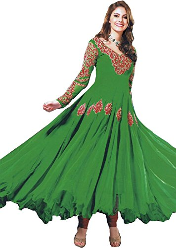 Exotic India Fluorite-Green Anarkali Suit with Embroidered Sequins on Ne - GreenGarment Size xs