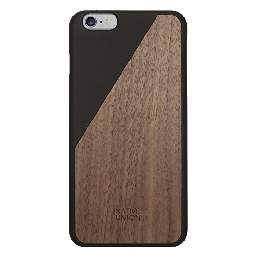 Walnut Wood Case - Native Union CLIC Wooden Case for iPhone 6 Plus, iPhone 6s Plus - Handcrafted Real Walnut Wood Protective Slim Case Cover (Black)