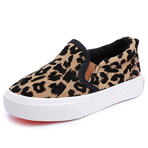 Aiminila Boy's Girl's Canvas Sneakers Casual Leopard Print Slip-on Loafer Shoes Flats, Khaki Leopard, 5 - Toddler Leopard