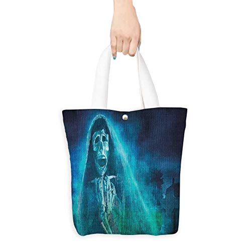 Canvas Tote Bag Halloween Decorations Gothic Dark Background with a Dead Ghost Skull Skeleton Mystical Haunted Horror Theme Blue (W15.75 x L17.71 -