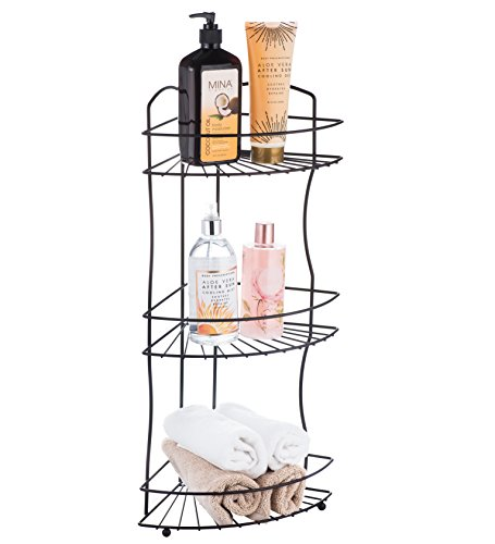 AMG and Enchante Accessories Free Standing Bathroom Spa Tower Floor Caddy, FC232-A BKN, Black Nickel by AMG