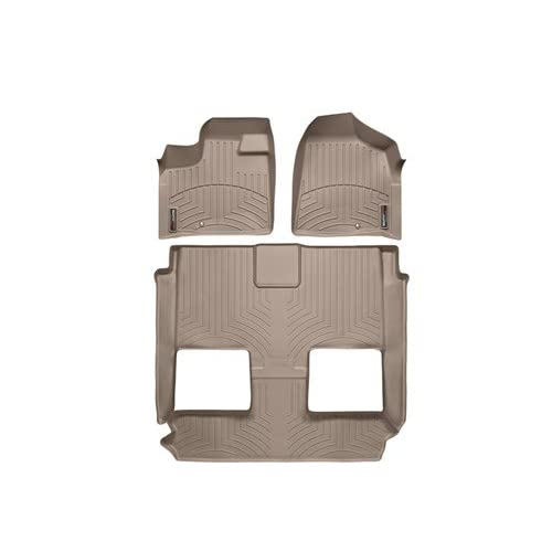 Wholesale 2011-2015 Chrysler Town & Country Tan WeatherTech Floor Liner (Full Set-1st Row, One Piece-2nd & 3rd Row) [Bucket Seating Stow'n Go][With passenger-side floor retention device and super console]