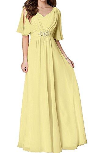Gelb Braut Partykleider Damen La Linie Hell Abendkleider Chiffon A Brautmutterkleider Marie Bodenlang 55zxrn6P
