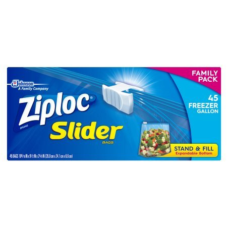 45k Gallon (Ziploc Slider Gallon Freezer Bags, 45 count)