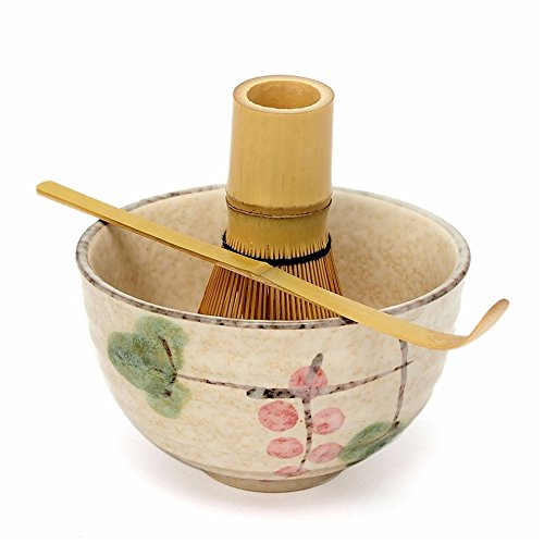Tea Ceremony Matcha Ceramic Tea Bowl Bamboo Tea Scoop Matcha Whisk Japanese Teaware,3 pcs Tea Tools (lotus) by ISHOWStore