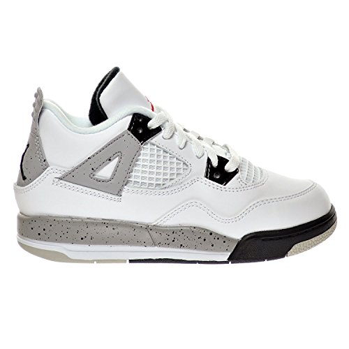 "Jordan 4 Retro BP ""Cement"" Little Kid's Shoes White/Fire Red/Black/Matte Silver 308499-104 (3 D(M) US)"