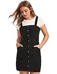 Women's Corduroy Button Down Pinafore Overall Dress with Pockets