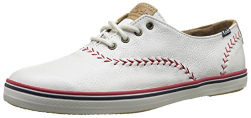Keds Women's Champion Pennant Baseball Fashion Sneaker,White Leather,6 M US US