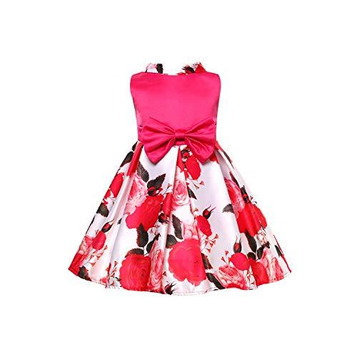 Kids Dresses for Girls Princess Dress Flower Girls Dresses for Party and Wedding Dress Children Costume,Rose,9T - Bow Rose Eyelet Dress Pink