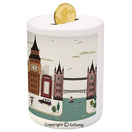 SoSung London Ceramic Piggy Bank,Attractive Travel Scenery Famous City England Big Ben Telephone Booth Westminster 3D Printed Ceramic Coin Bank Money Box for Kids & Adults,Multicolor]()