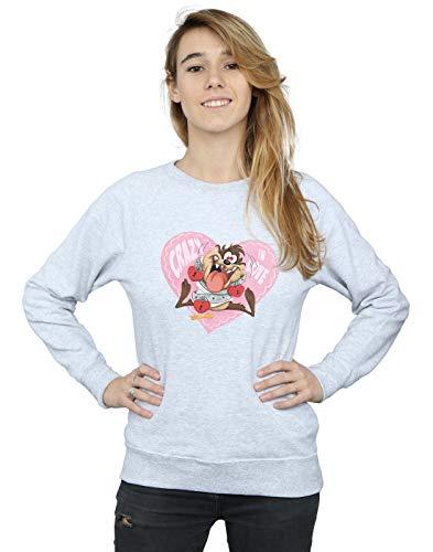 Tunes Valentine's In Deporte Looney Camisa Crazy Taz De Love Day Gris Entrenamiento Mujer BHfatwnxd