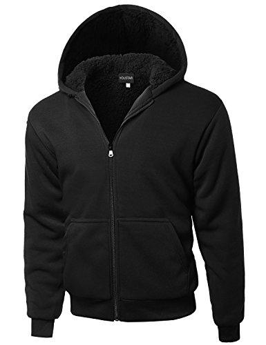 Classic Sherpa Lining Drawstring Hoodie Black Size XL