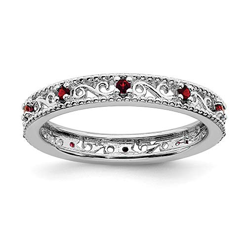 (FB Jewels Solid Sterling Silver Stackable Expressions Garnet Ring Size 7)