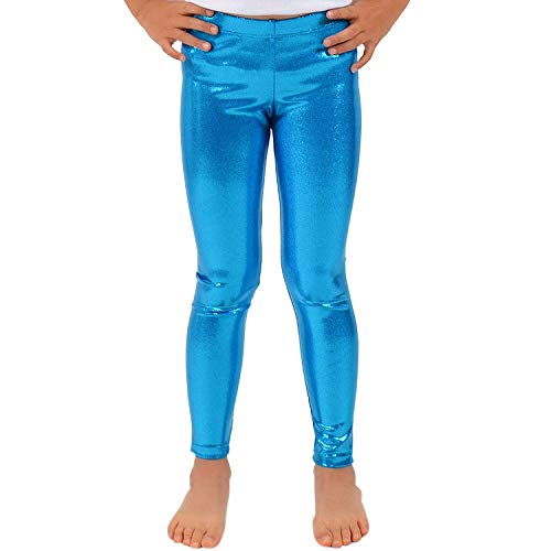 Loxdonz Girls Shiny Wet Look Leggings Kids Liquid Metallic Dance Footless Tights (11-12 Years, Turquoise)]()