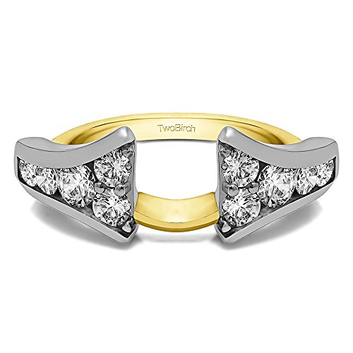 Ring Wrap Enhancer set in Multi-Tone Gold set with White Sapphire(0.5Ct)Size 3 To 15 in 1/4 Size Interval 1/2 Carat Multi Sapphire