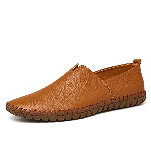 Leather On Boat Men's Shoes Brown Slip Genuine Beach Summer YING Moccasins Driving Flat Loafers LAN Walking a O1nqU8xI