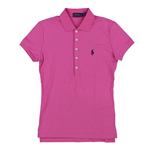 Polo Ralph Lauren Womens Polo Shirt (Medium, Medium Pink Navy Pony)