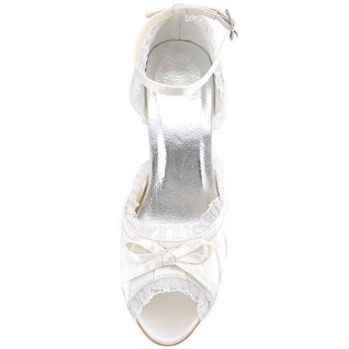 Ivoire Mariee Satin Ouvert Chaussures Cheville Ep2062 Bout Bride Elegantpark Mariage De Plisse Femme qg7PHnO