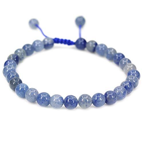Natural Blue Aventurine Gemstone 6mm Round Beads Adjustable Braided Macrame Tassels Chakra Reiki Bracelets 7-9 inch Unisex