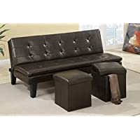 Poundex F7199  Leatherette Adjustable Sofa With Ottomans, Brown