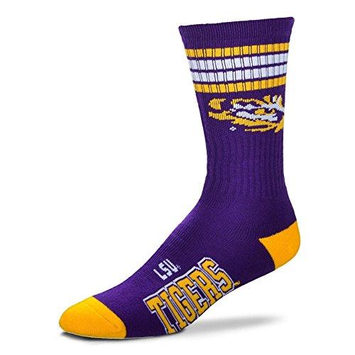 NCAA 4 Stripe Deuce Socks - Men's Large Available in 14 Teams (fits 10-13) (LSU Tigers)