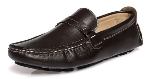 Happyshop (tm) Scarpe Casual Da Uomo In Vera Pelle, Scarpe Da Guida Comfort Slip-on Penny Mocassini Marrone Scuro