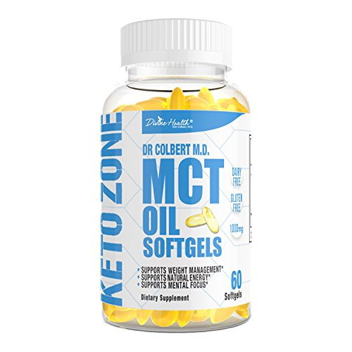 Dr.Colberts Keto Zone All Natural MCT Oil Softgels 1000mg from Organic Coconuts - 60 Softgels - Ketogenic Approved