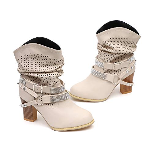 Wind Hollow Beige Rhinestone Boots High United Rough Europe Heeled Rock Buckle FALAIDUO States Boots Xwxp46vqa