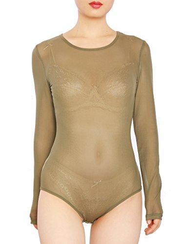May&Maya Women's Sexy Sheer Mesh Long Sleeve Bodysuit (XXL, (Long Sleeve T-shirt Bodysuit)