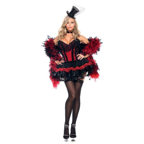 Be Wicked Speak Easy Saloon Girl Costume, Red/Black, Small/Medium