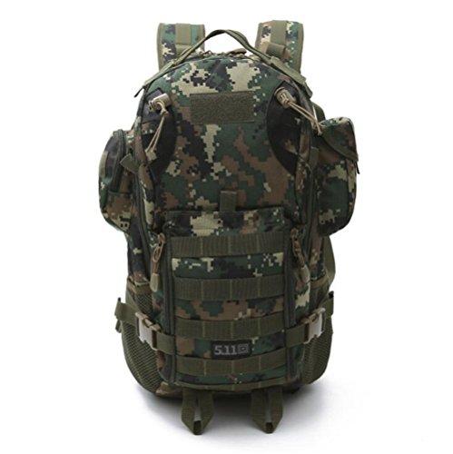 Wmshpeds Deportes al aire libre multi-funcional camuflaje mochila militar ventilador escalada senderismo bolsa 3P mochila táctica E