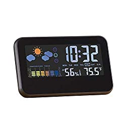 Collections Etc Color-Coded Weather Station Alarm Clock with Easy-to-Read Numbers & Display