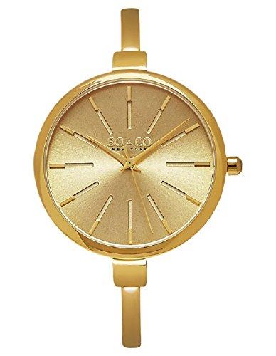 (SO&CO New York Women's 5297.SET.2 Madison Quartz Gold-Tone Stainless Steel Slim Dress Watch With Two Bangle Bracelets)